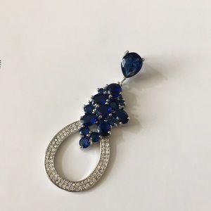 Jewelry - Beautiful Large Sapphire Diamond 925. Pendant